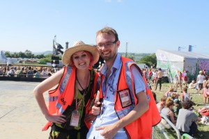 Two of the awesome AIE volunteers on The Park viewing platform